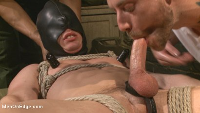 Photo number 7 from Straight Soldier Edged by His Commanding Officers shot for Men On Edge on Kink.com. Featuring Tommy Regan in hardcore BDSM & Fetish porn.