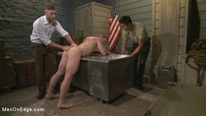 Photo number 2 from Straight Soldier Edged by His Commanding Officers shot for Men On Edge on Kink.com. Featuring Tommy Regan in hardcore BDSM & Fetish porn.