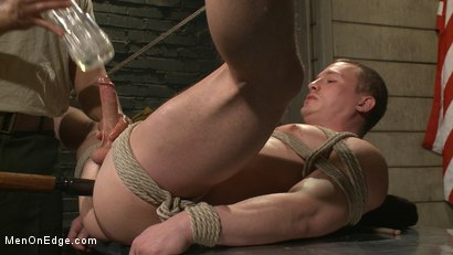 Photo number 9 from Straight Soldier Edged by His Commanding Officers shot for Men On Edge on Kink.com. Featuring Tommy Regan in hardcore BDSM & Fetish porn.
