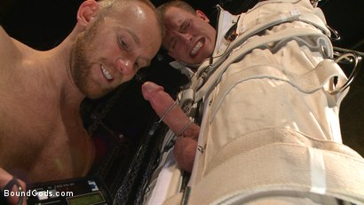 Photo number 14 from Enhanced Interrogation: Detained Stud Faces a Horny, Sadistic Agent shot for Bound Gods on Kink.com. Featuring Tommy Regan and Damien Michaels in hardcore BDSM & Fetish porn.