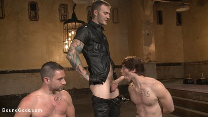 Photo number 10 from Bound Gods Live: New House Slaves Tested by the Kink Olympics shot for Bound Gods on Kink.com. Featuring Christian Wilde, Dylan Knight and Scotty Zee in hardcore BDSM & Fetish porn.