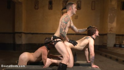 Photo number 14 from Bound Gods Live: New House Slaves Tested by the Kink Olympics shot for Bound Gods on Kink.com. Featuring Christian Wilde, Dylan Knight and Scotty Zee in hardcore BDSM & Fetish porn.