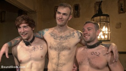 Photo number 15 from Bound Gods Live: New House Slaves Tested by the Kink Olympics shot for Bound Gods on Kink.com. Featuring Christian Wilde, Dylan Knight and Scotty Zee in hardcore BDSM & Fetish porn.