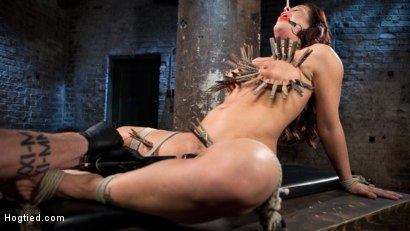 Photo number 2 from Pain Slut Suffers with a Smile in Brutal Bondage shot for hogtied on Kink.com. Featuring Holly Heart and The Pope in hardcore BDSM & Fetish porn.