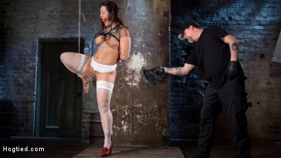 Photo number 13 from Pain Slut Suffers with a Smile in Brutal Bondage shot for hogtied on Kink.com. Featuring Holly Heart and The Pope in hardcore BDSM & Fetish porn.