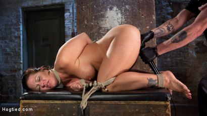 Photo number 6 from Pain Slut Suffers with a Smile in Brutal Bondage shot for hogtied on Kink.com. Featuring Holly Heart and The Pope in hardcore BDSM & Fetish porn.