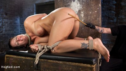 Photo number 8 from Pain Slut Suffers with a Smile in Brutal Bondage shot for hogtied on Kink.com. Featuring Holly Heart and The Pope in hardcore BDSM & Fetish porn.
