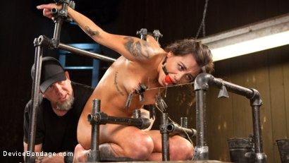 """Photo number 5 from Fresh Meat - Kacie Castle in """"She Will Scream, They All Scream!"""" shot for Device Bondage on Kink.com. Featuring Kacie Castle and The Pope in hardcore BDSM & Fetish porn."""