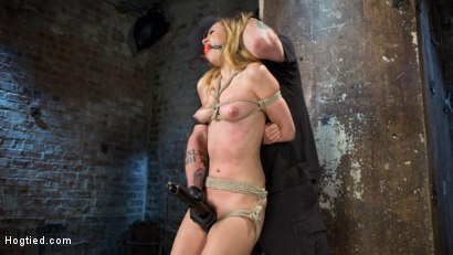 Photo number 9 from Young Blonde Babe is Devastated in Brutal Bondage and Made to Cum shot for Hogtied on Kink.com. Featuring Lyra Law and The Pope in hardcore BDSM & Fetish porn.