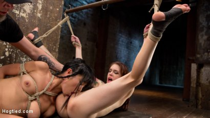 Photo number 13 from 2 Whores in Predicament Bondage, Tormented and Made to Lick Pussy shot for Hogtied on Kink.com. Featuring Anna De Ville, Marica Hase and The Pope in hardcore BDSM & Fetish porn.