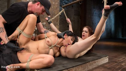 Photo number 9 from 2 Whores in Predicament Bondage, Tormented and Made to Lick Pussy shot for Hogtied on Kink.com. Featuring Anna De Ville, Marica Hase and The Pope in hardcore BDSM & Fetish porn.