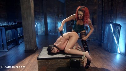 Photo number 9 from No Holds Barred: Daisy Ducati shocks & fucks lesbian pain slut! shot for Electro Sluts on Kink.com. Featuring Daisy Ducati and London River in hardcore BDSM & Fetish porn.