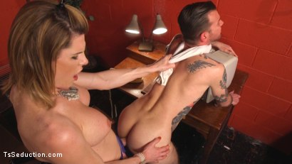 Photo number 10 from Delia releases a kept man from chastity then locks him down with her cock! shot for TS Seduction on Kink.com. Featuring Will Havoc and Delia DeLions in hardcore BDSM & Fetish porn.