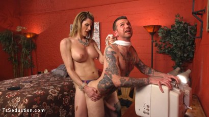Photo number 11 from Delia releases a kept man from chastity then locks him down with her cock! shot for TS Seduction on Kink.com. Featuring Will Havoc and Delia DeLions in hardcore BDSM & Fetish porn.