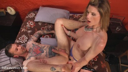 Photo number 13 from Delia releases a kept man from chastity then locks him down with her cock! shot for TS Seduction on Kink.com. Featuring Will Havoc and Delia DeLions in hardcore BDSM & Fetish porn.