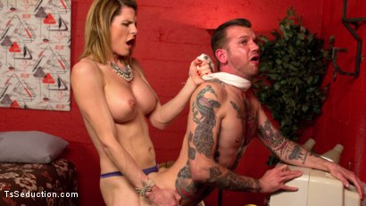 Photo number 7 from Delia releases a kept man from chastity then locks him down with her cock! shot for TS Seduction on Kink.com. Featuring Will Havoc and Delia DeLions in hardcore BDSM & Fetish porn.