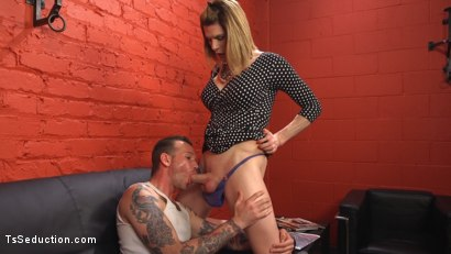 Photo number 3 from Delia releases a kept man from chastity then locks him down with her cock! shot for TS Seduction on Kink.com. Featuring Will Havoc and Delia DeLions in hardcore BDSM & Fetish porn.