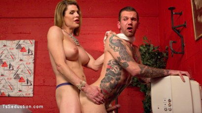 Photo number 8 from Delia releases a kept man from chastity then locks him down with her cock! shot for TS Seduction on Kink.com. Featuring Will Havoc and Delia DeLions in hardcore BDSM & Fetish porn.