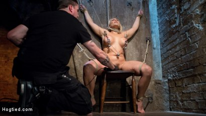 Photo number 3 from Big Tit Blonde MILF Bound, Tormented, and Made to Cum!! shot for Hogtied on Kink.com. Featuring Angel Allwood in hardcore BDSM & Fetish porn.