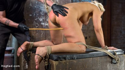 Photo number 6 from Big Tit Blonde MILF Bound, Tormented, and Made to Cum!! shot for Hogtied on Kink.com. Featuring Angel Allwood in hardcore BDSM & Fetish porn.