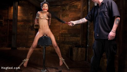 Photo number 9 from Skin Diamond is Tormented in Brutal Bondage and Made to Cum shot for Hogtied on Kink.com. Featuring Skin Diamond and The Pope in hardcore BDSM & Fetish porn.