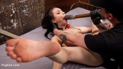 Photo number 5 from Petite Bondage Slut Gets her Holes Destroyed in Grueling Bondage shot for Hogtied on Kink.com. Featuring Gabriella Paltrova and The Pope in hardcore BDSM & Fetish porn.
