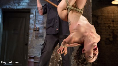 Photo number 4 from First Timer in Extreme Bondage with Brutal Tormented, and Made to Cum shot for Hogtied on Kink.com. Featuring Lilith Luxe and The Pope in hardcore BDSM & Fetish porn.