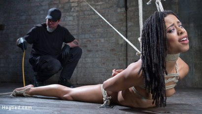 Photo number 15 from All Natural Ebony Newcomer in Brutal Bondage and Suffering Like a Pro! shot for Hogtied on Kink.com. Featuring Kira Noir and The Pope in hardcore BDSM & Fetish porn.