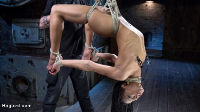 Photo number 4 from All Natural Ebony Newcomer in Brutal Bondage and Suffering Like a Pro! shot for Hogtied on Kink.com. Featuring Kira Noir and The Pope in hardcore BDSM & Fetish porn.