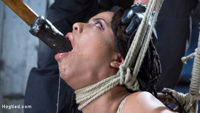 Photo number 10 from All Natural Ebony Newcomer in Brutal Bondage and Suffering Like a Pro! shot for Hogtied on Kink.com. Featuring Kira Noir and The Pope in hardcore BDSM & Fetish porn.