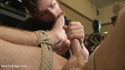 Photo number 12 from New Kink Stud gets Private Edging Session on His First Day at Work shot for Men On Edge on Kink.com. Featuring Tryp Bates in hardcore BDSM & Fetish porn.