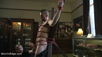 Photo number 4 from New Kink Stud gets Private Edging Session on His First Day at Work shot for Men On Edge on Kink.com. Featuring Tryp Bates in hardcore BDSM & Fetish porn.