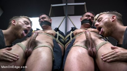 Photo number 3 from Security Guard Edged Beyond his Limit in the Bathroom shot for Men On Edge on Kink.com. Featuring Brogan Reed in hardcore BDSM & Fetish porn.