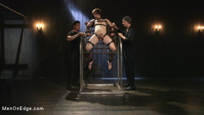 Photo number 7 from Metal Rack to Sleep Sack: Captive Boy's Thick Cock Edged Mercilessly shot for Men On Edge on Kink.com. Featuring Scotty Zee in hardcore BDSM & Fetish porn.