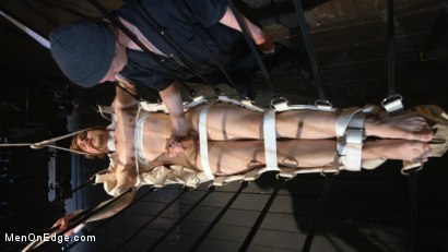 Photo number 4 from Metal Rack to Sleep Sack: Captive Boy's Thick Cock Edged Mercilessly shot for Men On Edge on Kink.com. Featuring Scotty Zee in hardcore BDSM & Fetish porn.