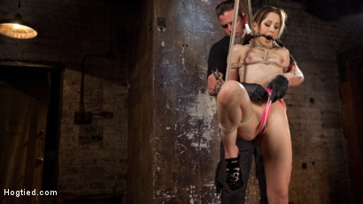Photo number 2 from Cute LA Porn Slut in Brutal Bondage and Abused then Made to Cum shot for Hogtied on Kink.com. Featuring Goldie Rush and The Pope in hardcore BDSM & Fetish porn.