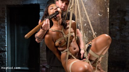 Photo number 11 from Ebony Bondage Princess Captured and Tormented!! shot for Hogtied on Kink.com. Featuring Chanell Heart and The Pope in hardcore BDSM & Fetish porn.