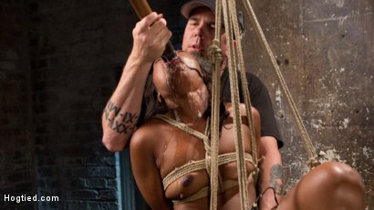 Photo number 7 from Ebony Bondage Princess Captured and Tormented!! shot for Hogtied on Kink.com. Featuring Chanell Heart and The Pope in hardcore BDSM & Fetish porn.