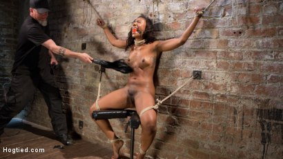 Photo number 6 from Ebony Bondage Princess Captured and Tormented!! shot for Hogtied on Kink.com. Featuring Chanell Heart and The Pope in hardcore BDSM & Fetish porn.
