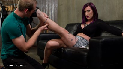 Photo number 2 from TS Film directors works her actors with her GIANT HARD COCK! shot for TS Seduction on Kink.com. Featuring Jonah Marx and River Stark in hardcore BDSM & Fetish porn.