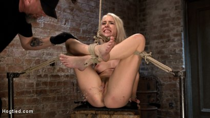 Photo number 13 from Blonde Rope Slut is Victimized and Made to Squirt Uncontrollably!! shot for Hogtied on Kink.com. Featuring Cadence Lux and The Pope in hardcore BDSM & Fetish porn.