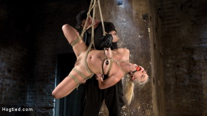 Photo number 3 from Blonde Rope Slut is Victimized and Made to Squirt Uncontrollably!! shot for Hogtied on Kink.com. Featuring Cadence Lux and The Pope in hardcore BDSM & Fetish porn.