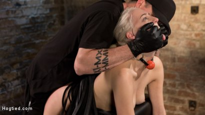 Photo number 9 from Blonde Rope Slut is Victimized and Made to Squirt Uncontrollably!! shot for Hogtied on Kink.com. Featuring Cadence Lux and The Pope in hardcore BDSM & Fetish porn.