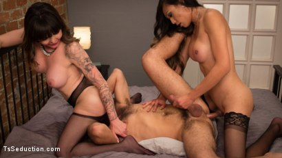 Photo number 7 from Spit Balling TS Cum For Couples shot for TS Seduction on Kink.com. Featuring Venus Lux, DJ and Danielle Foxx in hardcore BDSM & Fetish porn.