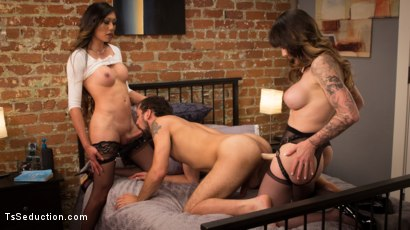 Photo number 10 from Spit Balling TS Cum For Couples shot for TS Seduction on Kink.com. Featuring Venus Lux, DJ and Danielle Foxx in hardcore BDSM & Fetish porn.