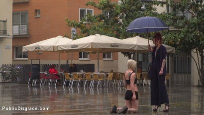 Photo number 2 from Eager Bitch Spanked And Flogged In The Rain! - Part 1 shot for Public Disgrace on Kink.com. Featuring Steve Holmes, Juan Lucho, Nora Barcelona and Silvia Rubi in hardcore BDSM & Fetish porn.