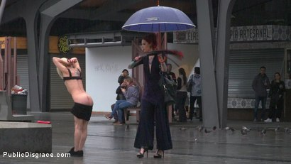 Photo number 11 from Eager Bitch Spanked And Flogged In The Rain! - Part 1 shot for Public Disgrace on Kink.com. Featuring Steve Holmes, Juan Lucho, Nora Barcelona and Silvia Rubi in hardcore BDSM & Fetish porn.