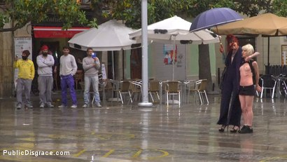 Photo number 3 from Eager Bitch Spanked And Flogged In The Rain! - Part 1 shot for Public Disgrace on Kink.com. Featuring Steve Holmes, Juan Lucho, Nora Barcelona and Silvia Rubi in hardcore BDSM & Fetish porn.
