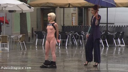 Photo number 4 from Eager Bitch Spanked And Flogged In The Rain! - Part 1 shot for Public Disgrace on Kink.com. Featuring Steve Holmes, Juan Lucho, Nora Barcelona and Silvia Rubi in hardcore BDSM & Fetish porn.