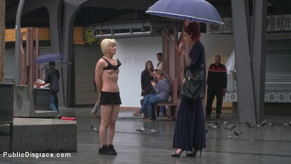 Photo number 10 from Eager Bitch Spanked And Flogged In The Rain! - Part 1 shot for Public Disgrace on Kink.com. Featuring Steve Holmes, Juan Lucho, Nora Barcelona and Silvia Rubi in hardcore BDSM & Fetish porn.
